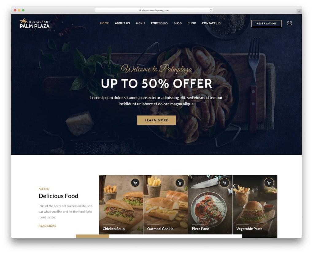 palmplaza wordpress restaurant theme