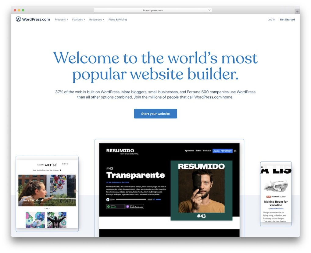 site web de portfolio wordpress build