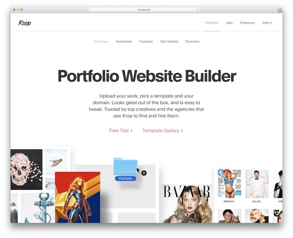 site Web du portfolio krop build