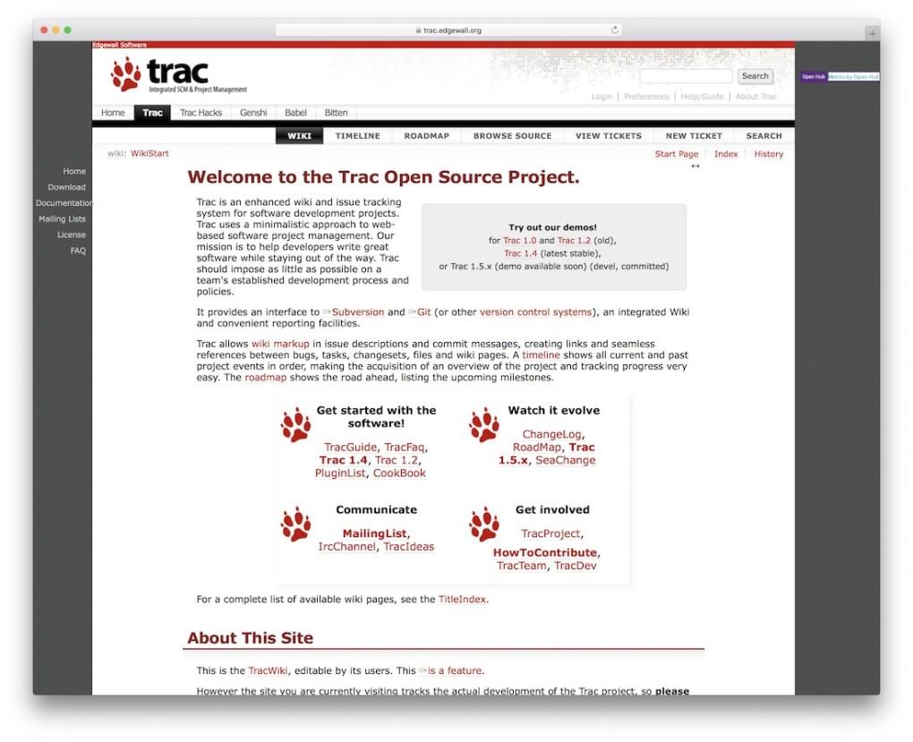 l'outil de suivi des bogues du projet trac