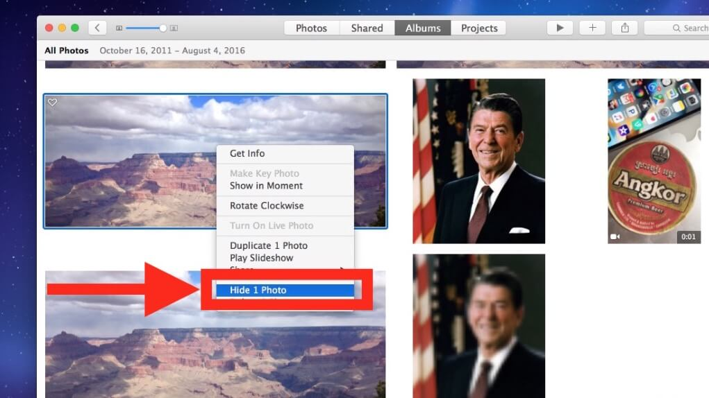 Ocultar imágenes en Mac