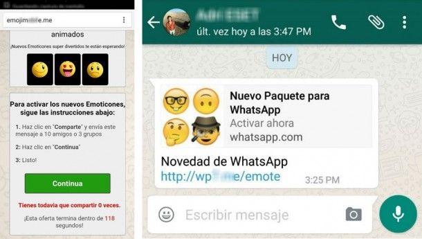 Virus y publicidad en WhatsApp