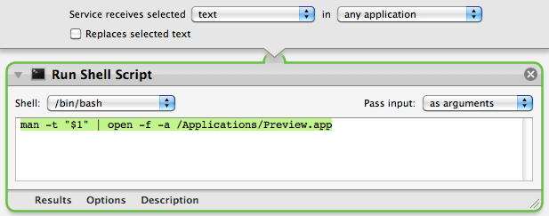 Screenshot of the workflow in Automator