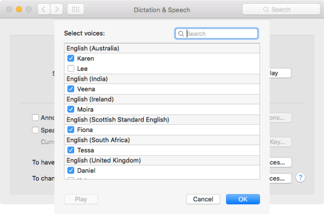 The customize voices panel in the Dictation & Speech pane in System Preferences