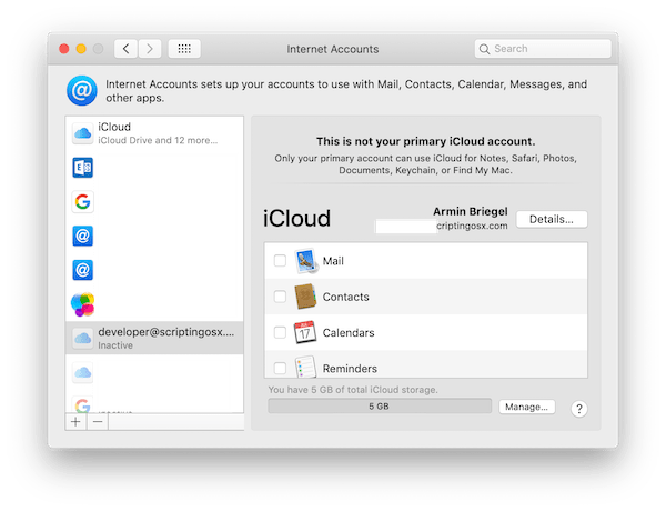 Second iCloud Account on macOS
