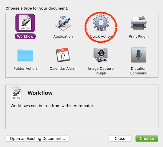 The new Workflow chooser in Mojave