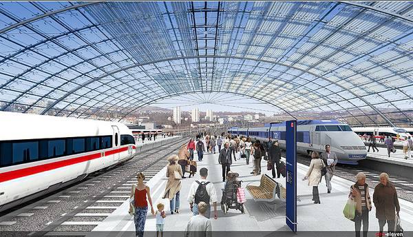 Architekturentwurf für einen modernisierten Kopfbahnhof