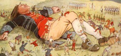 i viaggi di Gulliver - l uomo si risveglia circondato da piccoli ometti