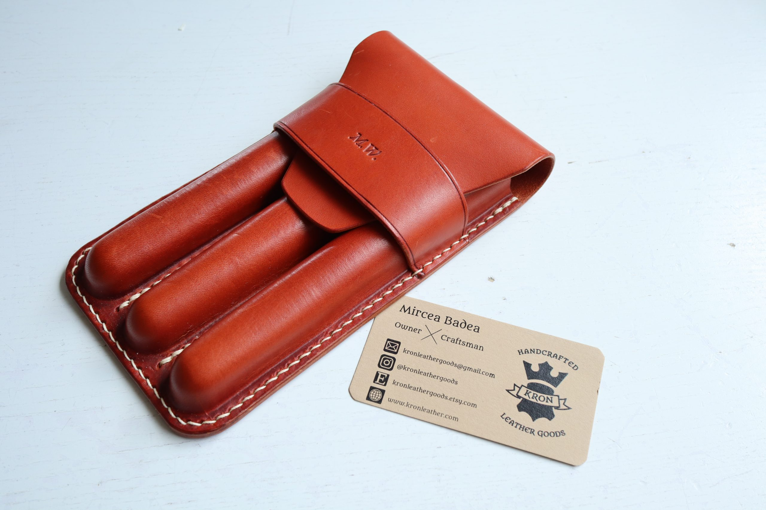 KRON leather goods triple pen pouch