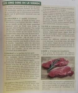 """""""Les 5 sens de la viande"""": testo tratto dal libro """"Planète cuisine"""", Isabelle Médeuf et Silvie Sturani, éditions Ducroz, p. 137."""