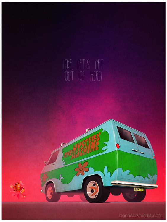 POSTERS OF FAMOUS CARS AND VEHICLES IN TV, MOVIES AND VIDEOGAMES via BannCars | Scooby-Doo.: