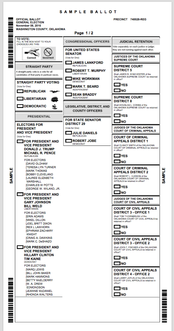My Sample Ballot in Washington County for the General