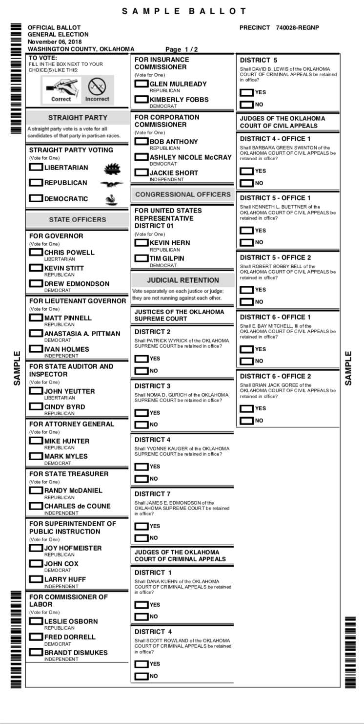Sample Ballot for Washington County OK