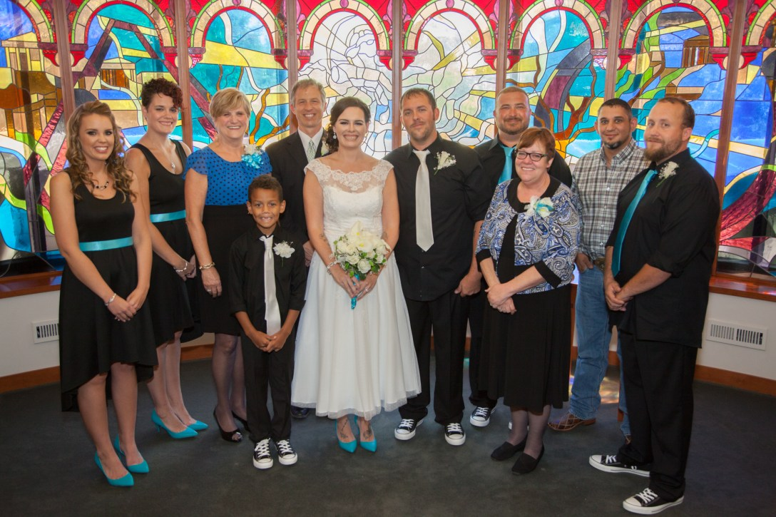 wedding party in hospital chapel