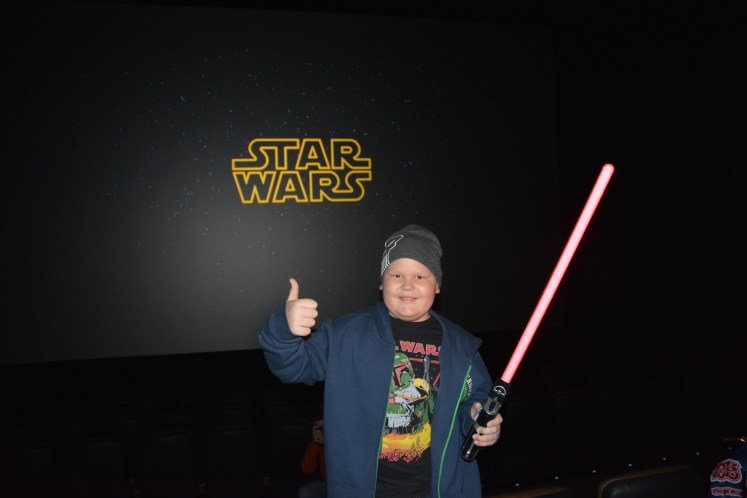 Luke was excited by the surprise trip out of the confinement of his hospital room to see the new Star Wars movie.