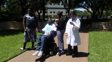 Walk and Roll with Walk With A Doc at Baylor Institute for Rehabilitation From left to right: Julius Fletcher, former Baylor Rehab patient, Evan Rainey, clinical research coordinator on staff at Baylor University Medical Center's Level I Trauma, Seema Sikka, MD, director of spinal cord injury research and quality at Baylor Rehab