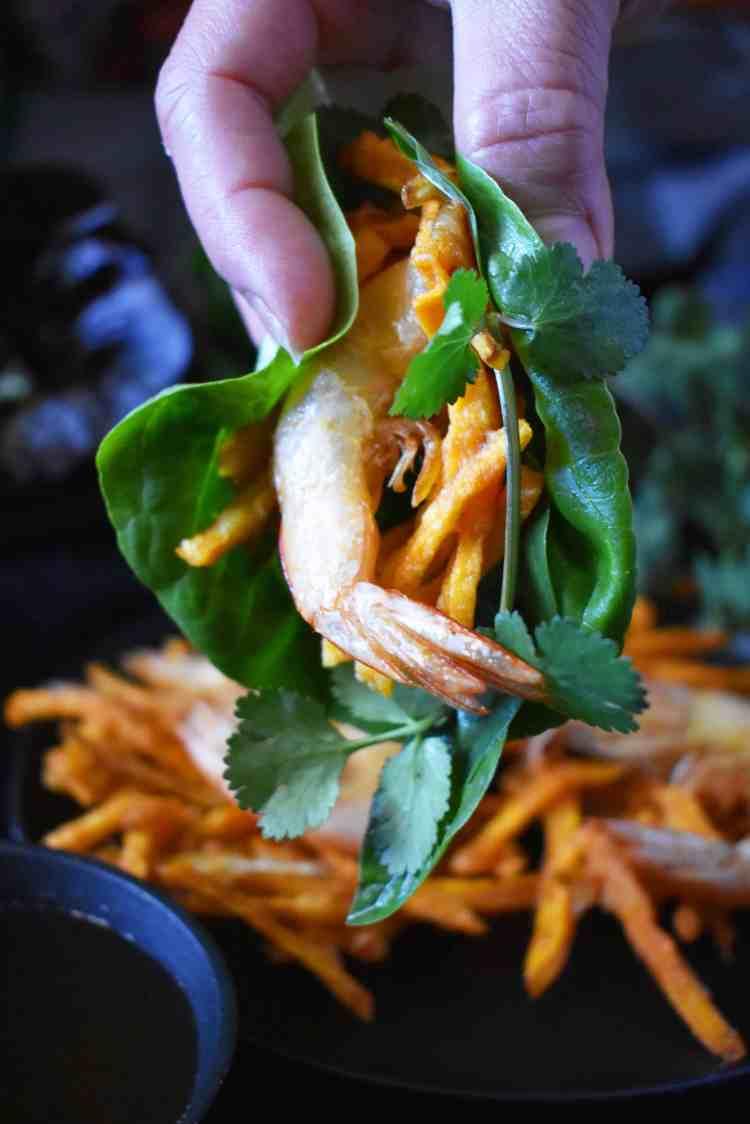 Vietnamese Prawn and Sweet Potato Fritters - Banh Tom