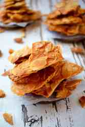 45 degree angle view of a stack of almond biscuits