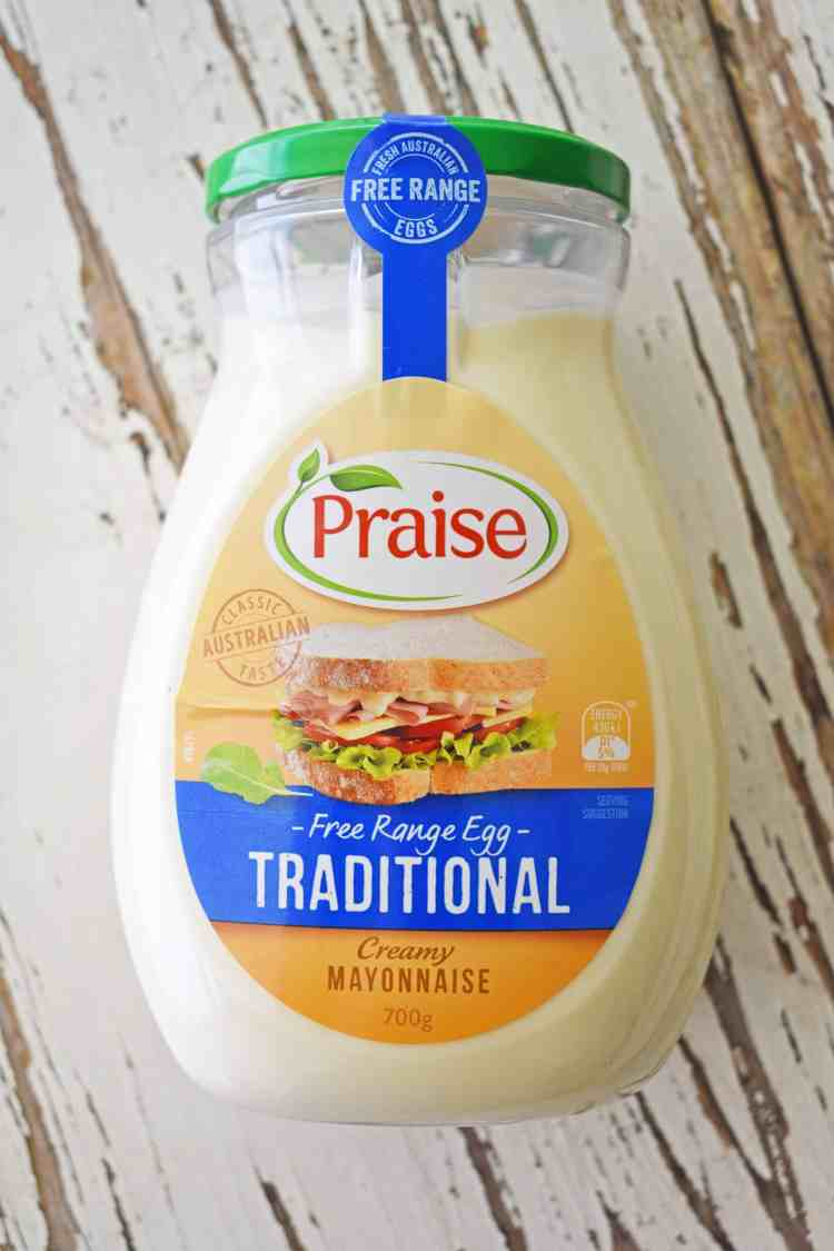 Top down view of Praise mayonnaise
