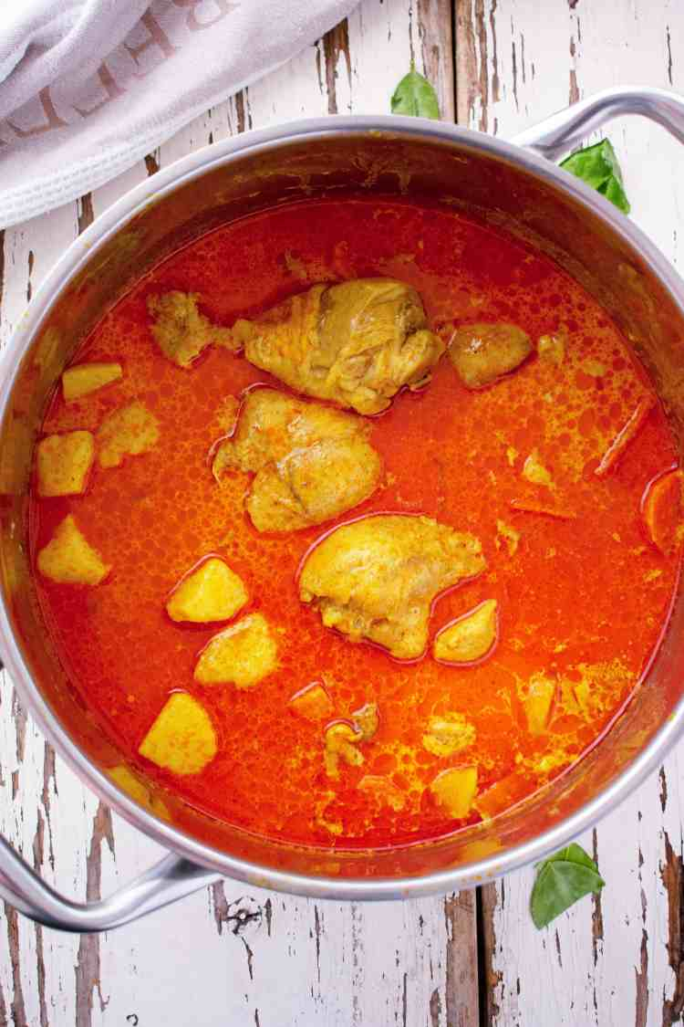 A top down view of a pot chicken curry.