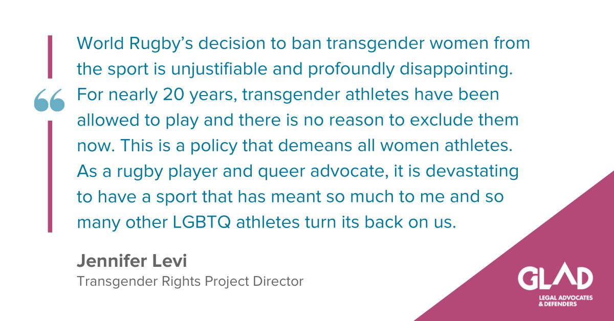 GLAD response to World Rugby Transgender Ban