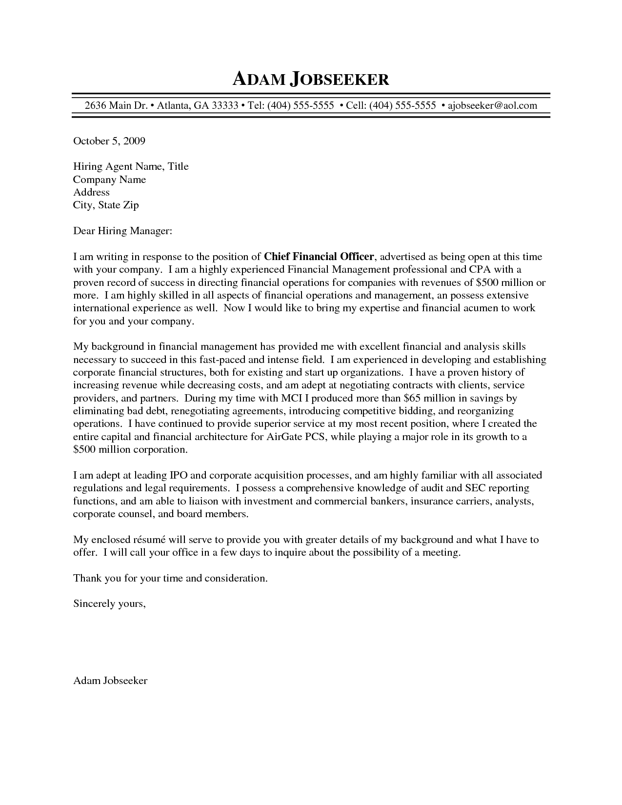 Cfo Cover Letter Sample  scrumps