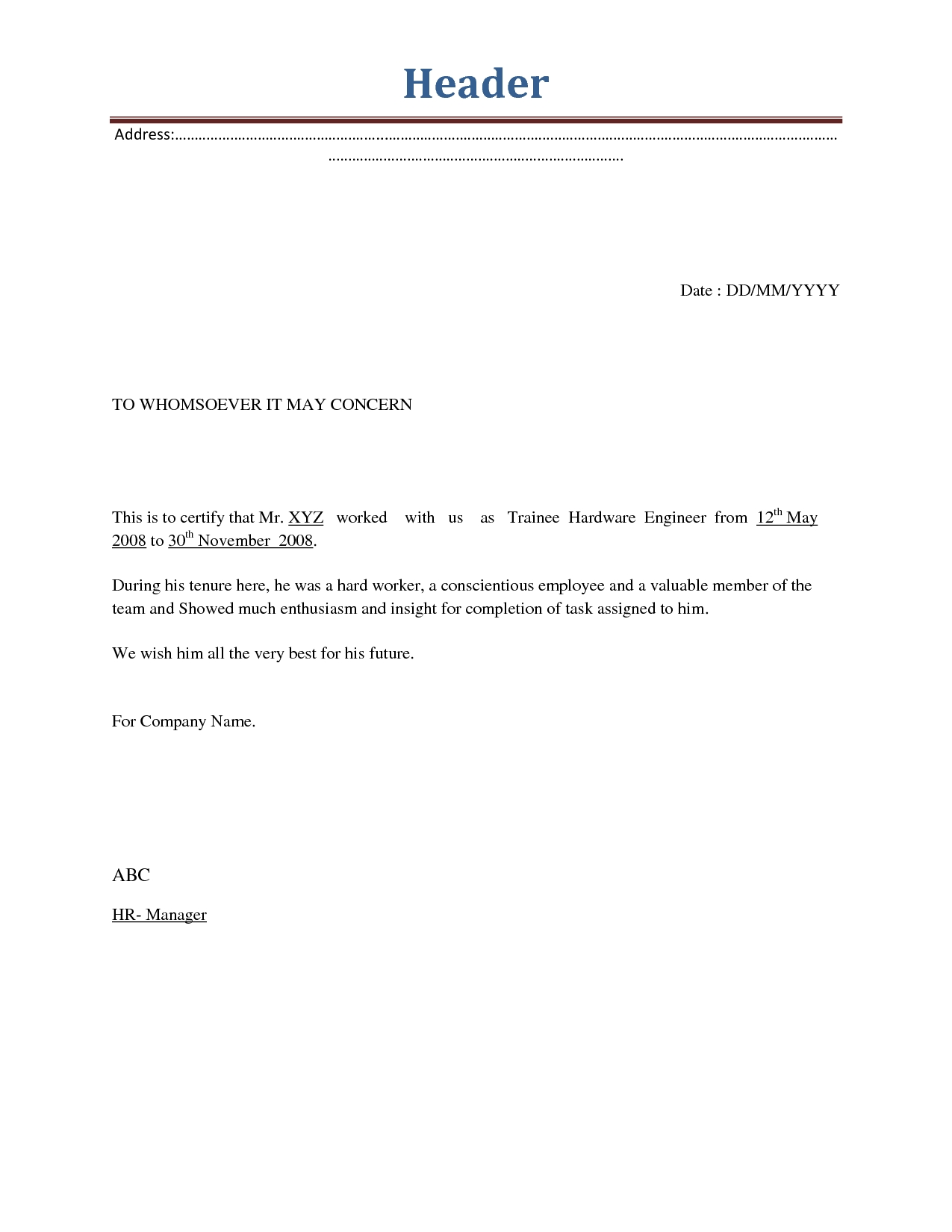 Employment Termination Letters Samples
