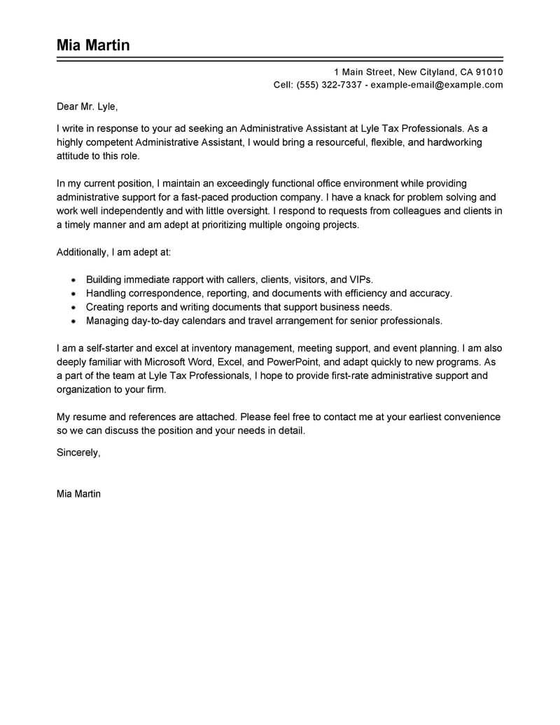 cover letter samples for administrative assistants