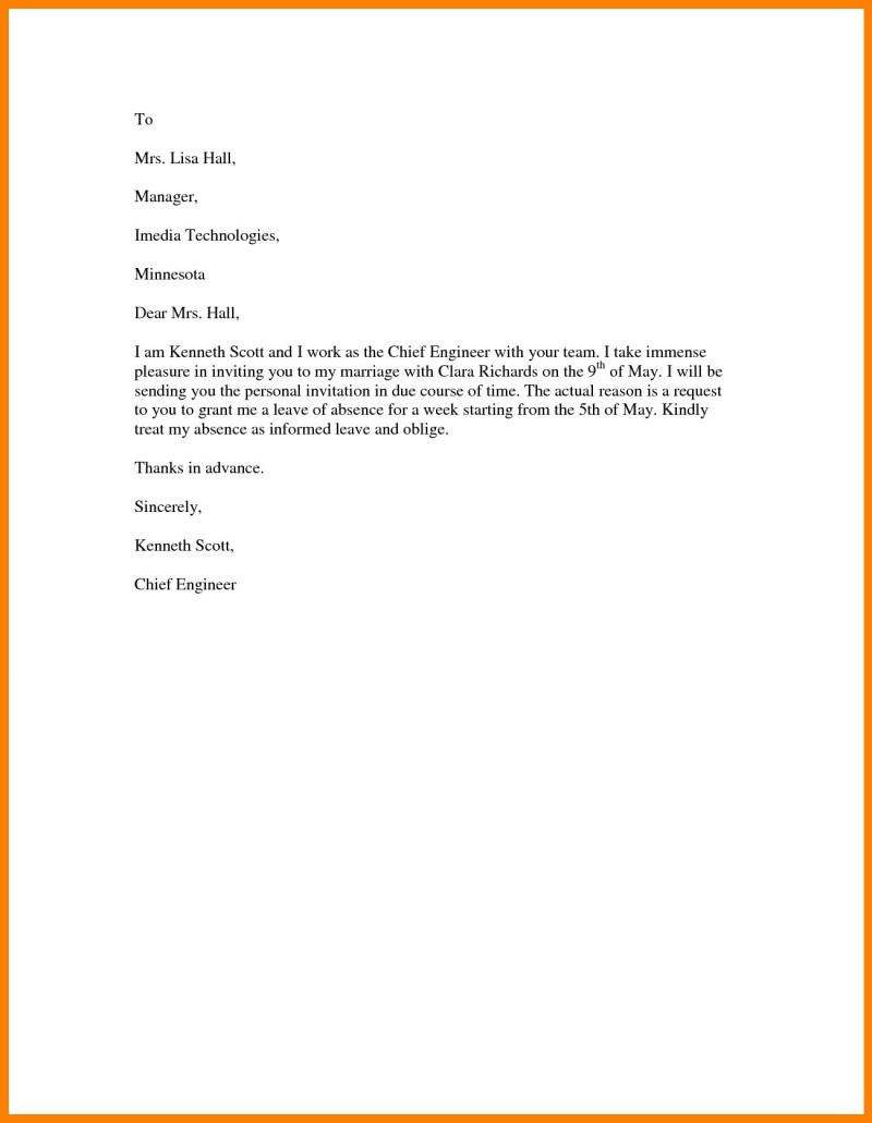 Vacation Leave Request Letter For Marriage | Leancy Travel