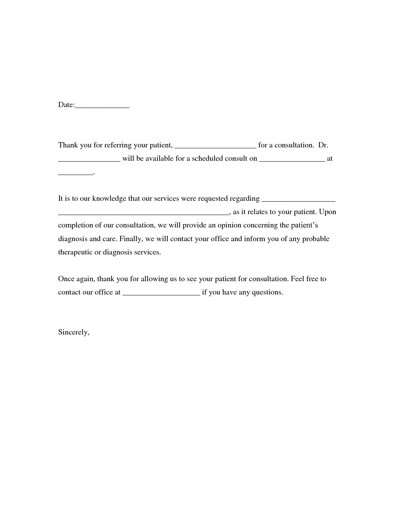 Thank You Letter For Patient Referral Images Letter Format