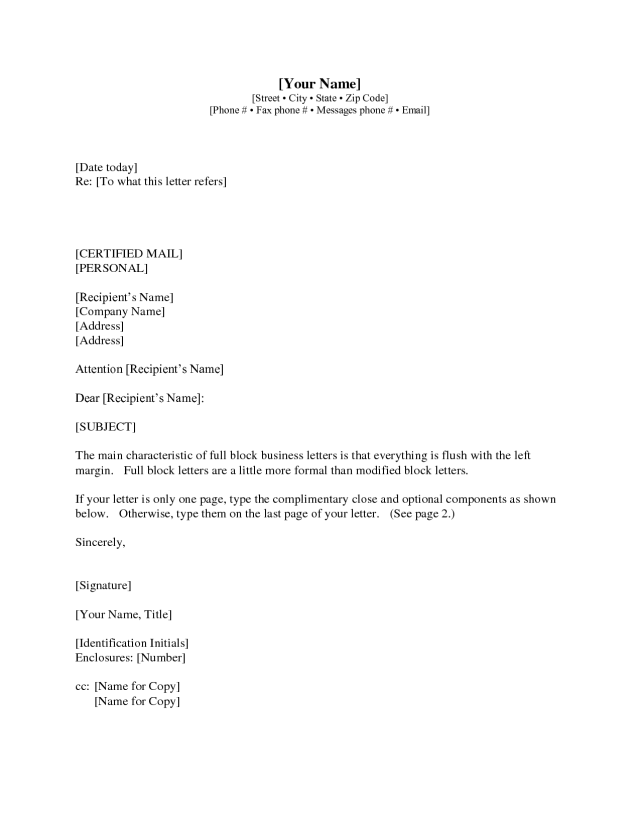 Business Letter Sample With Enclosure And Cc