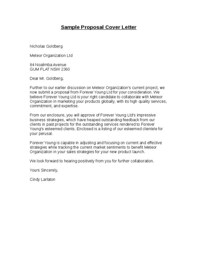 Sample Er Letter For A Proposal