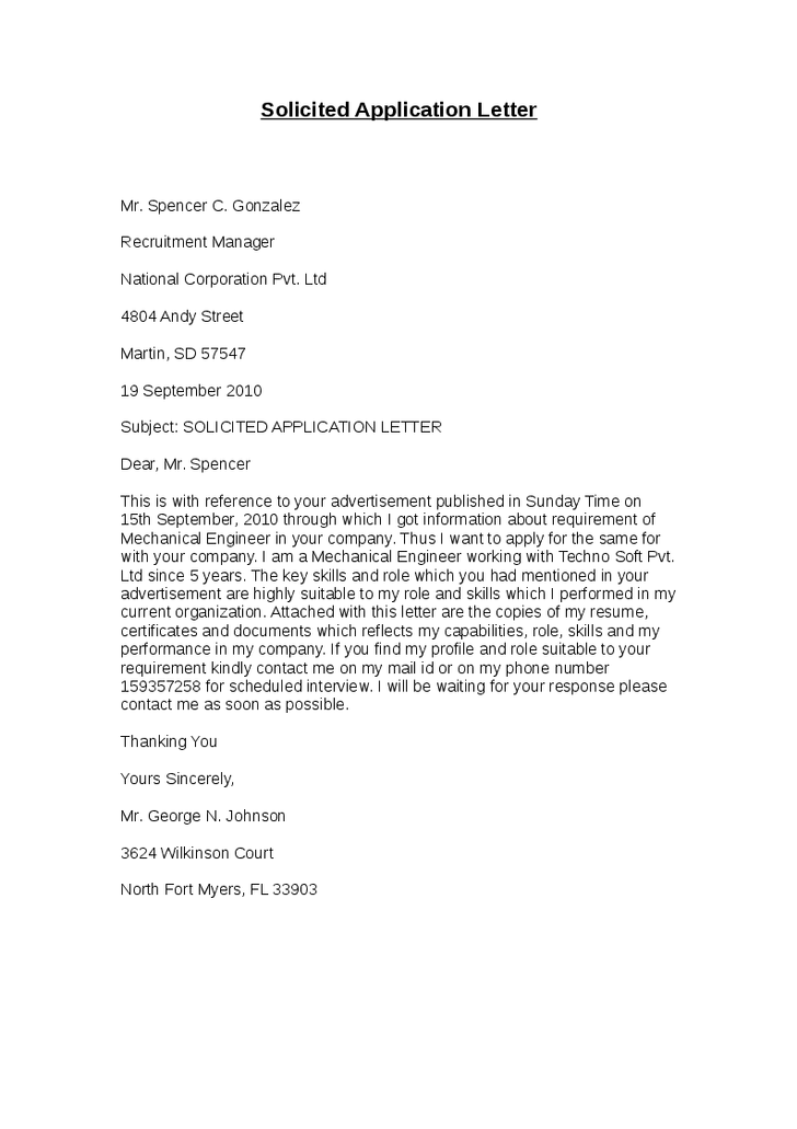 cover letter for a job application definition