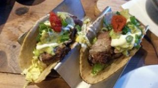 Flat iron steak tacos.