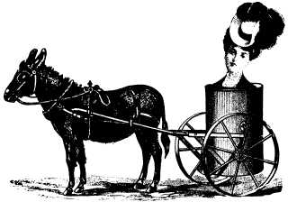 woman's head in horse-drawn tanker montage