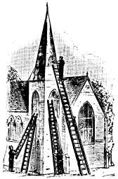 church with ladders