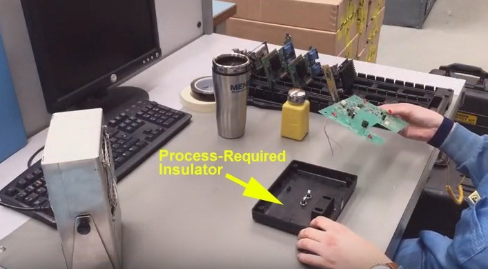Electronic enclosures are process-essential insulators (shown on ESD workstation)