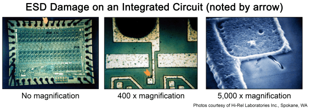 ESD Damage on an integrated circuit. No Magnification, 400x magnification, 5,000x magnification.