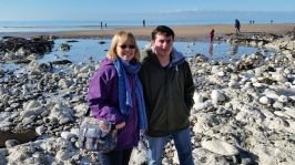 Sheila and Jamie on beach at Birling Gap 16 Feb 2016