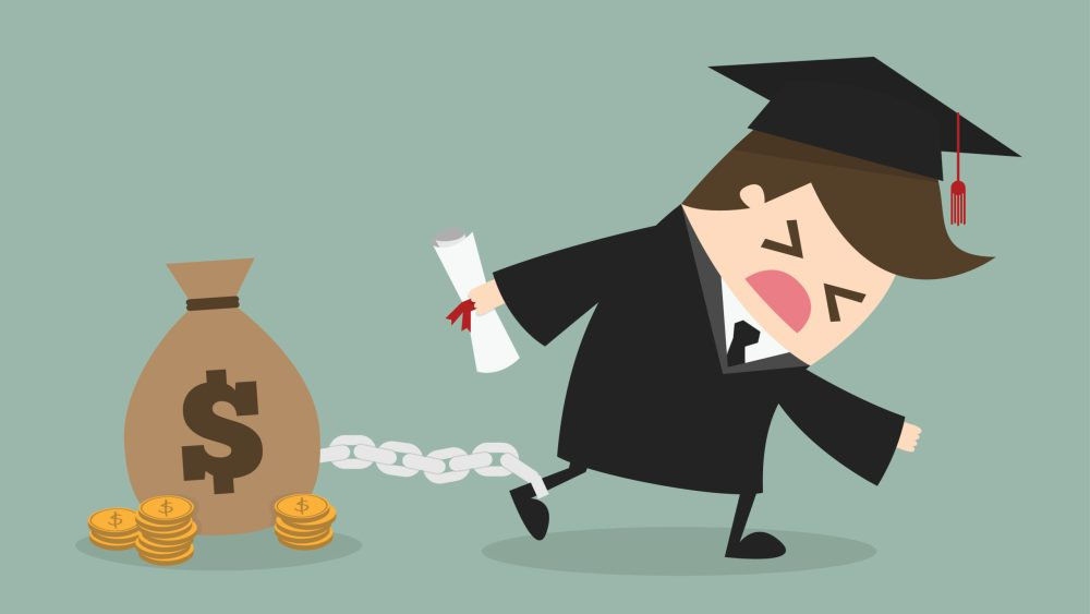 graduate walks with money bag chained to ankle