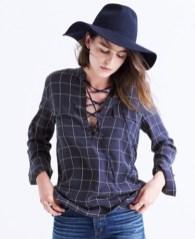 Madewell Lace-up Windowpane Shirt