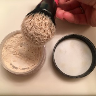 A little goes a long way. I tapped this brush a few times before applying.