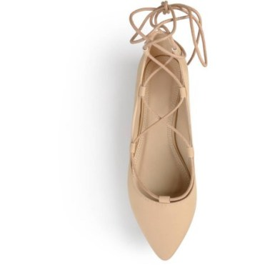Brinley Co. Womens Pointed Toe Lace-up Ballet Flats