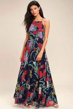 LuLu's A Dream Realized Navy Blue Floral Print Maxi Dress