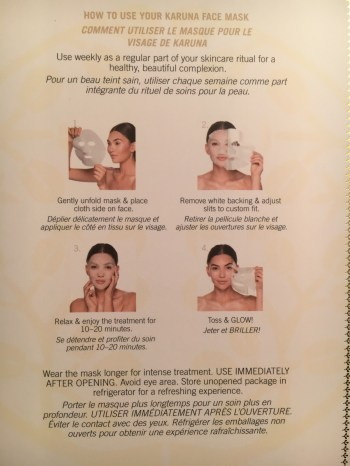 Instructions for Karuna's Hydrating+ Face Mask.