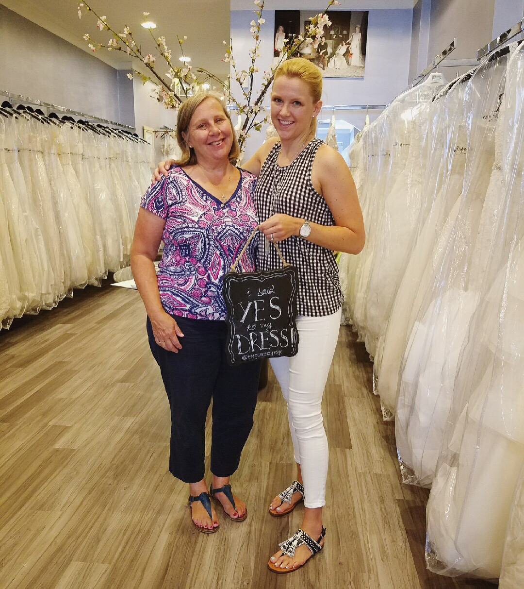 My mom and I celebrated the end of the wedding dress selection processs.