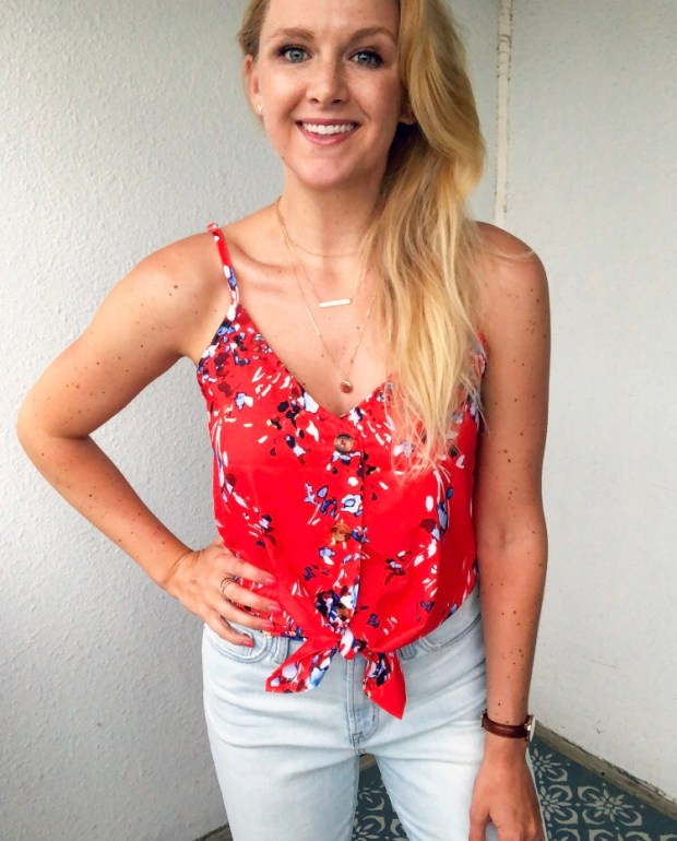 Red Floral Cami - Red, White & Blue Style Inspiration for the Fourth of July - SCsScoop.com