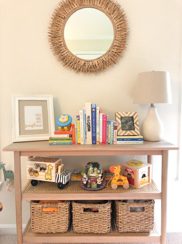 Gender Neutral Nursery - Safari Theme - Rattan Bookshelf & Mirror - SCsScoop.com