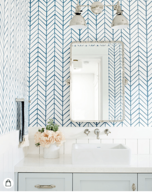 Bathroom Design Inspiration - Serena & Lily wallpaper for bathroom - SCsScoop.com