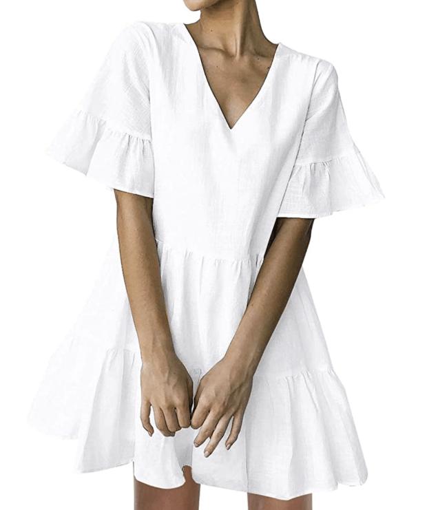 little white dress under $100 - amazon tiered mini dress - SCsScoop.com